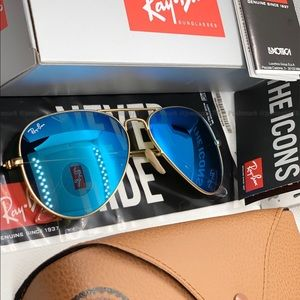 💙[Blue Flash] RAYBAN Original Aviator [Gold] fram